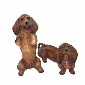 Vintage pair of Daschund Dog figurines decor